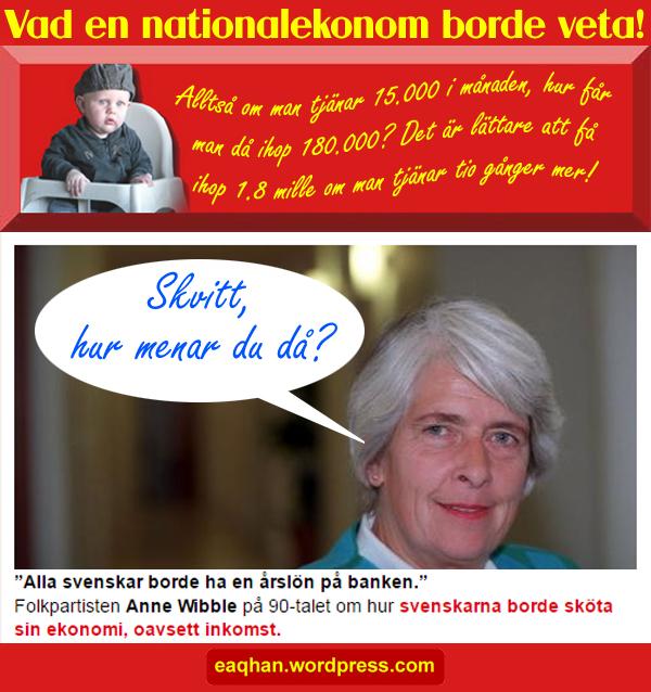Ann Wibbles årslön på banken